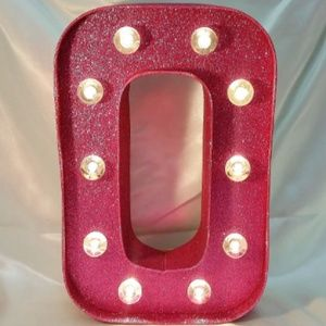 """Other - PINK Glitter Lighted Marquee Letter """"O"""" 10"""" x 7"""""""